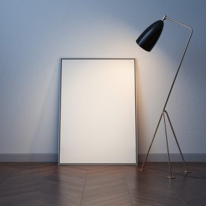 Blank white canvas on the wood floor with modern lamp. 3d rendering