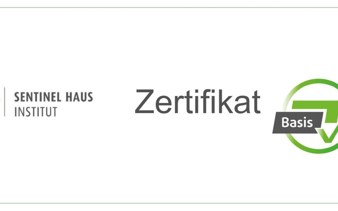 Zertifikat Sentinel Haus Institut